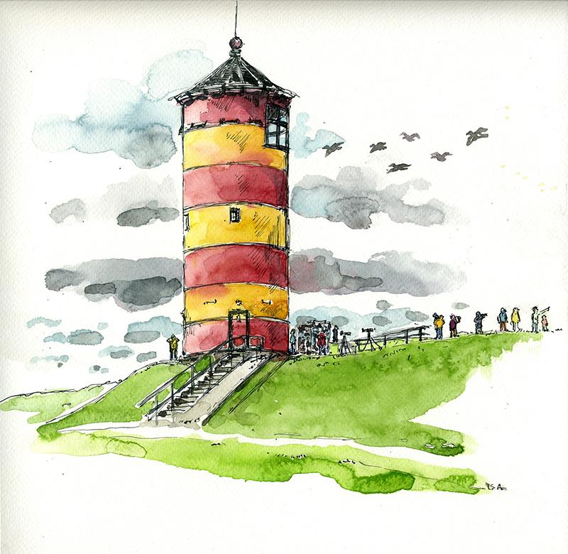 Beobachtungsstation am Pilsumer Leuchtturm. © Isa Fischer