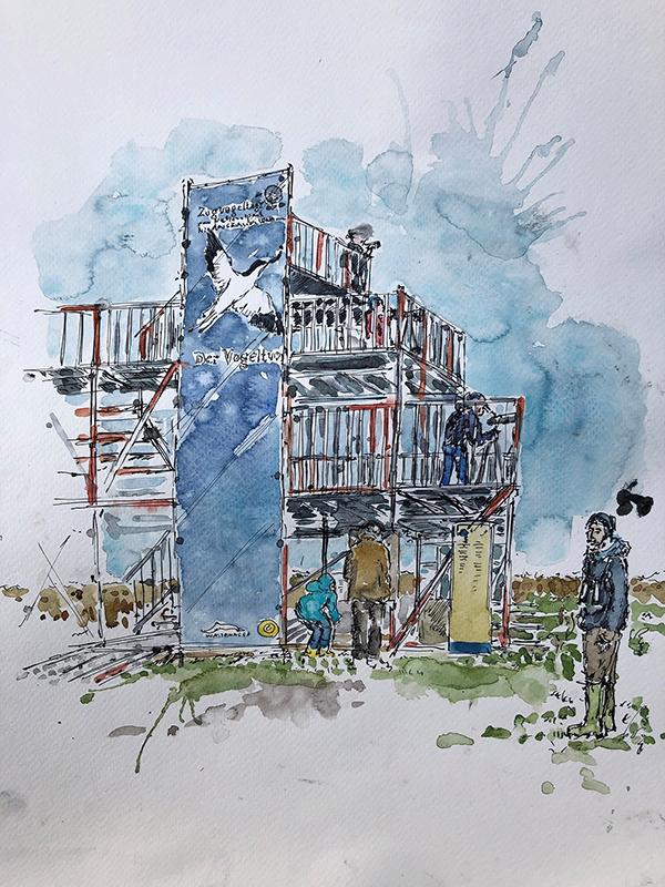 Der Vogelturm am Vareler Hafen. © Isa Fischer