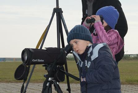 Kinder beobachten Zugvögel mit Spektiv und Fernglas