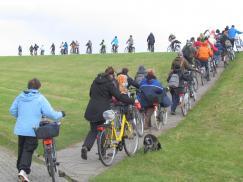 Mit den Fahrrädern auf den Deich Richtung Salzwiese