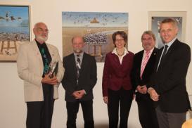 Harro Maass, Frank-Ulrich Schmidt und Gastgeber bei der Vernissage